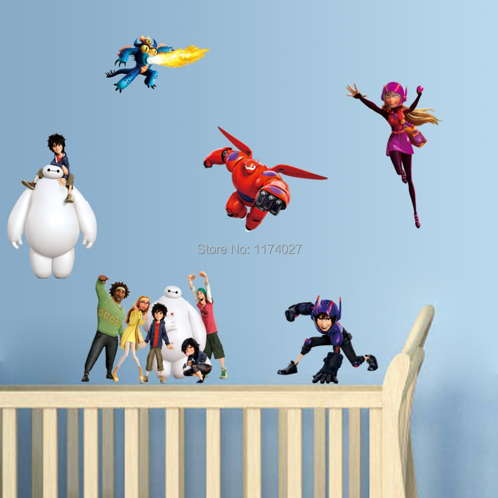 Free Shipping Big Hero 6 Wall Sticker Baymax Wall Stickers Home Decor  Cartoon Removable Wall Decals