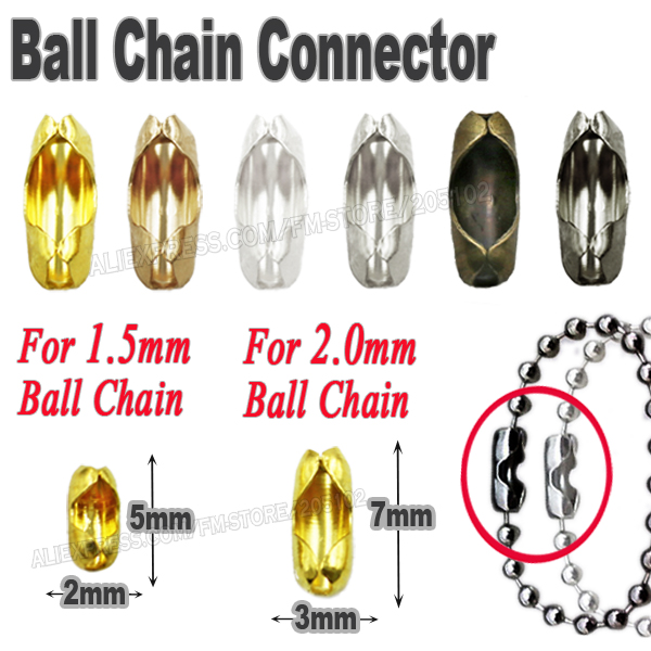 For mm ball chain end connect caps gold silver