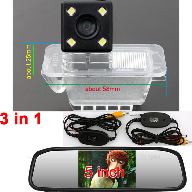 For Ford Fiesta Focus 2 hatchback S-MAX Mondeo Kuga Escape Vehicle Reversing Rear View Backup Parking Wireless AV Camera Monitor