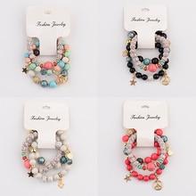 OIQUEI New 3Pcs/Lot Women Gold Alloy Star Pendants Bracelets Set Fashion Natural Stone Beads Yoga Pulsera Jewelry Gift