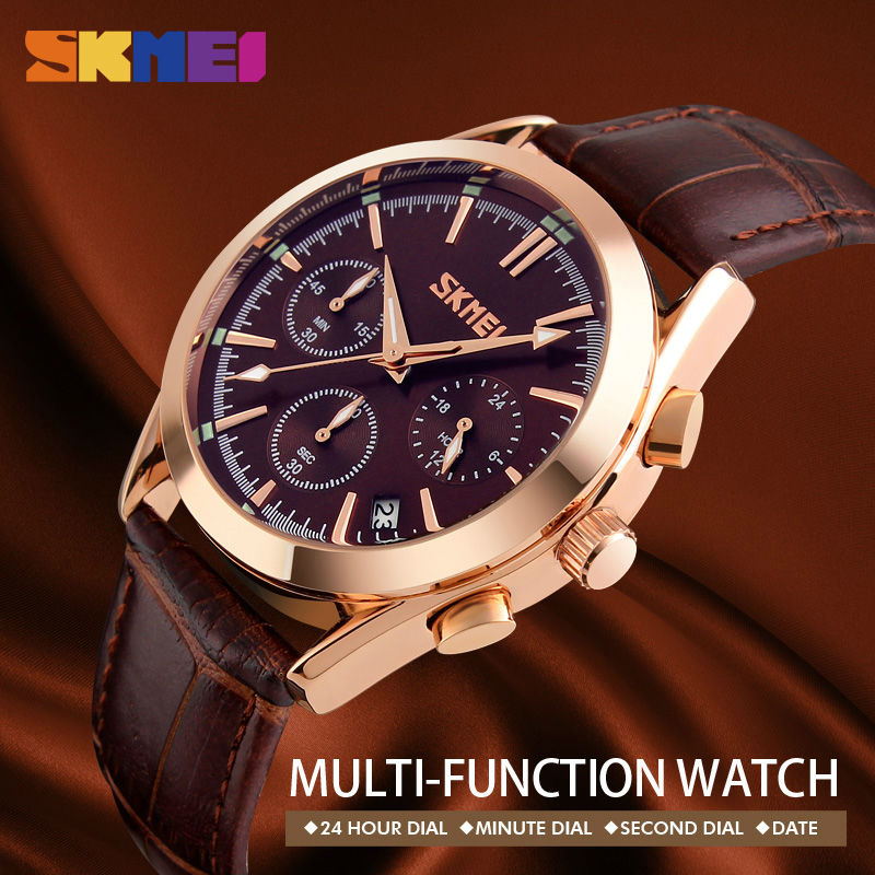 SKMEI 9127 Men Quartz Wristwatches Fashion Casual Watch Leather Strap Complete Calendar Man Watches Auto Date Luxury Male Clock цена