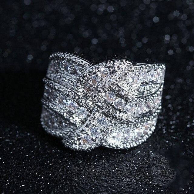 Luxo Grande 925 Anéis da Prata Esterlina com CZ Pedra Zircão para As Mulheres Moda Weave Enrolamento de Casamento Anéis de Noivado 2019