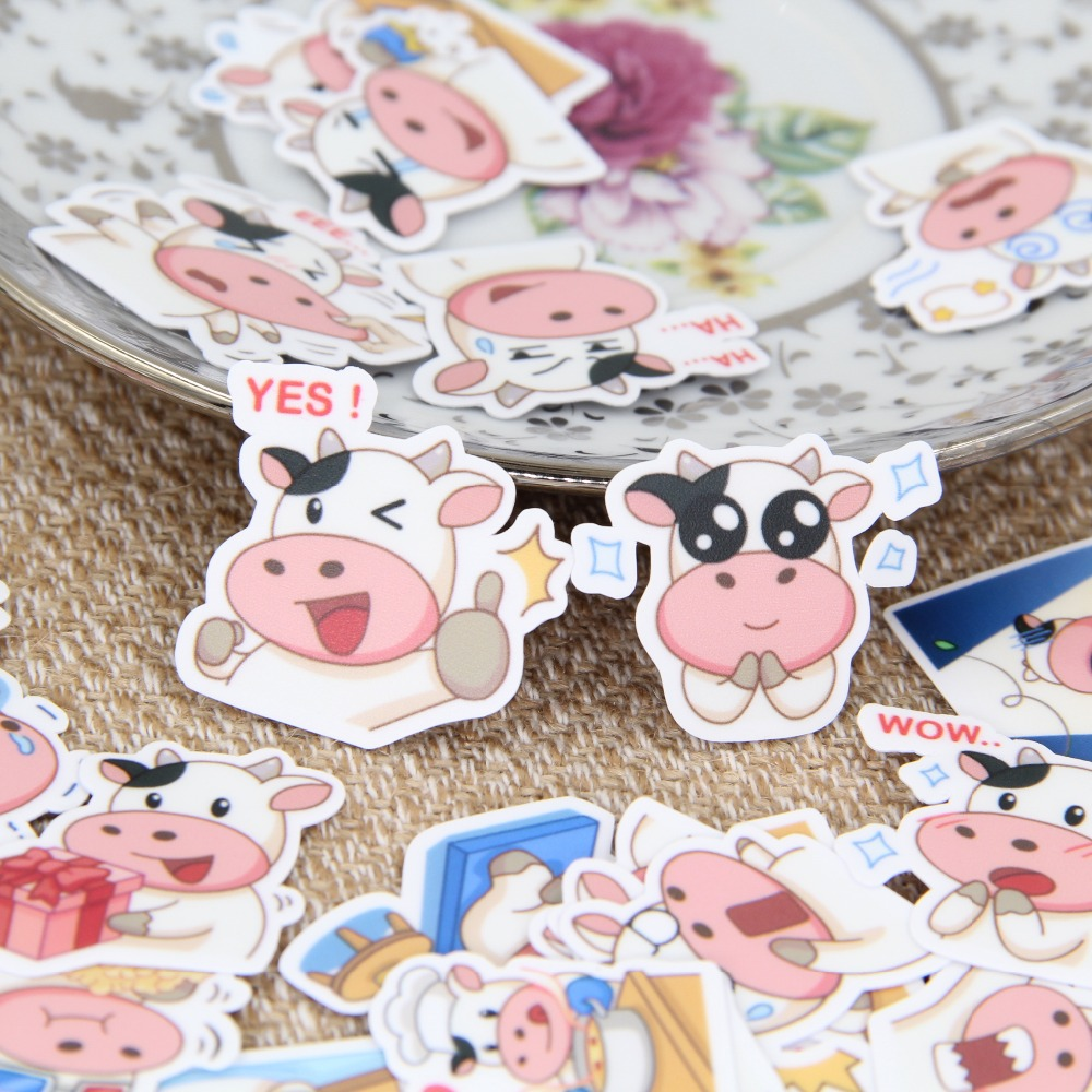 40 pcs / set Cute adorable cow face book scrapbooking bubble buoy stickers stickers kawaii expression childrens toys