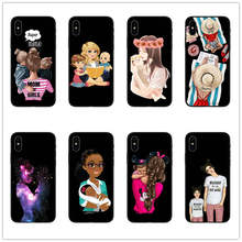 Black Brown Hair Dear Baby Mommy Girl son Queen 01 Phone Case cover For iPhone 7 6 6s Plus X XR 8 SE Woman black Silicone coques(China)
