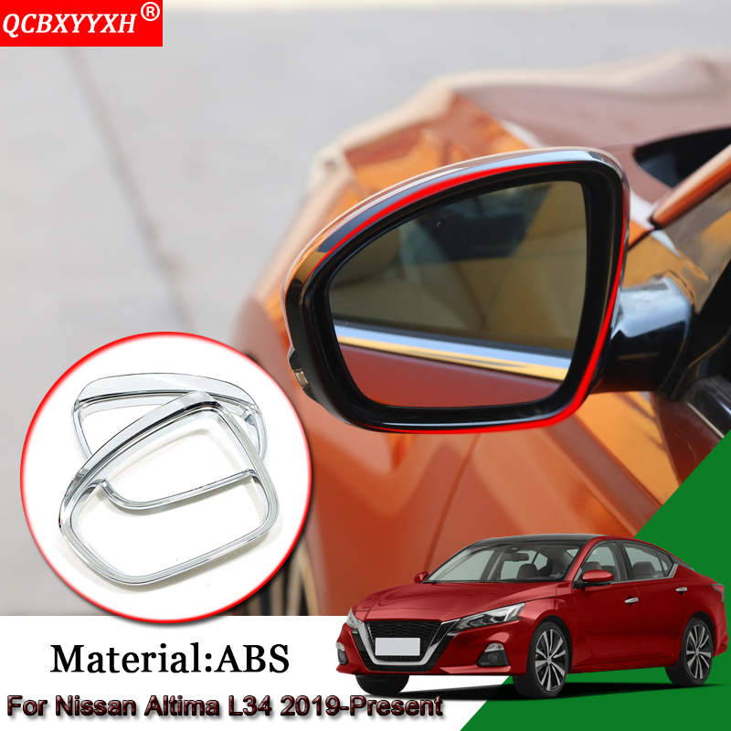 Car Styling ABS Car Rearview Mirror Rain Eyebrow Frame Cover Stickers Automobiles Accessories For Nissan Altima L34 2019 Present