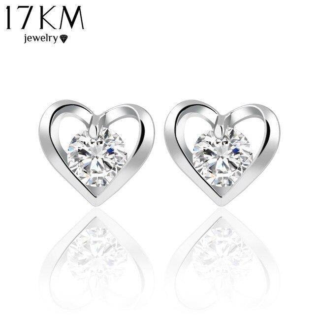 17KM Romantic Flower Heart Crystal Stud Earrings Alloy Silver Color Design Zircon Earrings Fashion Jewelry For Women CS11