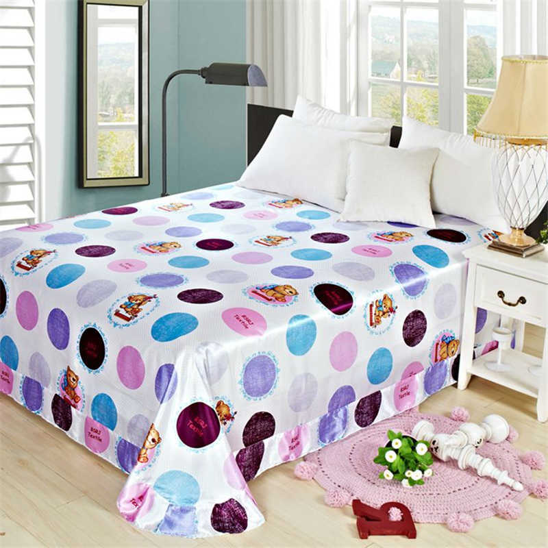 100% Polyester Bed Cover Printing Cute Bedspread Double Bed Soft Skin Bedclothes Large Home Decoration Bed Flat