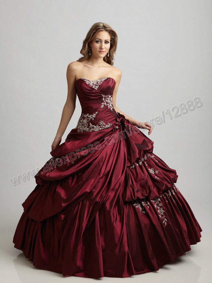 Online Shop Navy Blue Dark Red Taffeta Ball Gown Prom Dresses Free ...