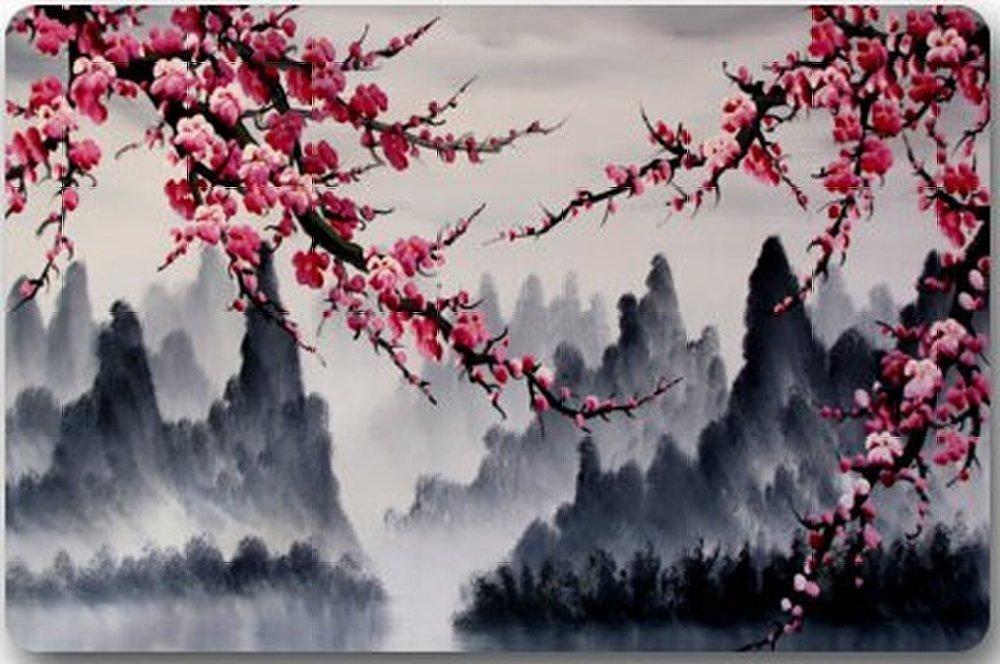 Aplysia Room Home Doormat Beautiful Cherry Blossom Tree