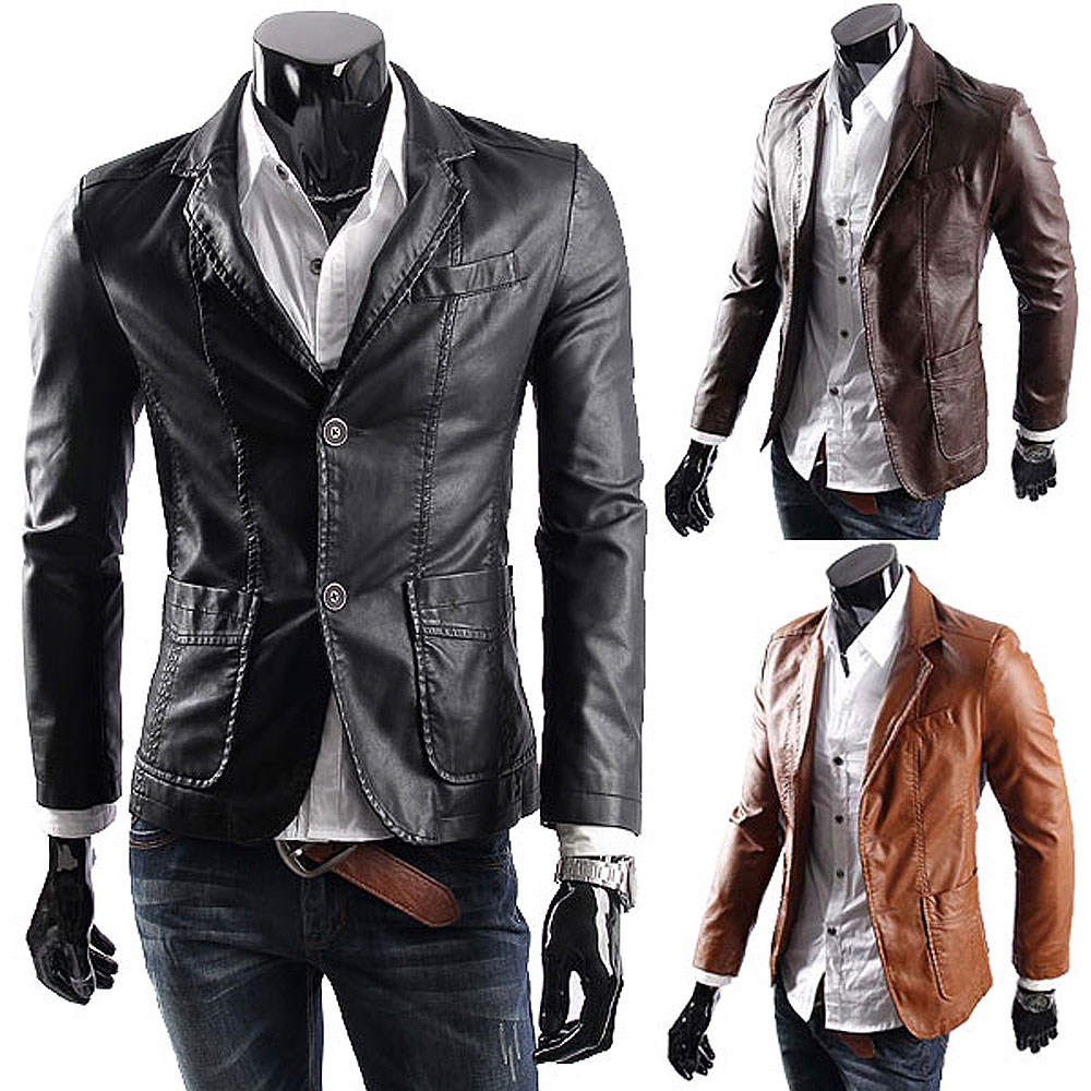 Big size Leather jacket for men casaul slim pu leather Suit ...