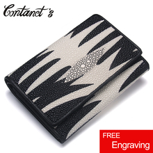 CONTACTS Fashion Women Wallets Genuine Leather Money Bag Small Purse Clutch With