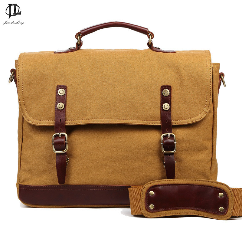 Vintage Crossbody Bag Military Canvas + Genuine Leather shoulder bags Men messenger bag men leather Handbag tote Briefcase aosbos fashion portable insulated canvas lunch bag thermal food picnic lunch bags for women kids men cooler lunch box bag tote