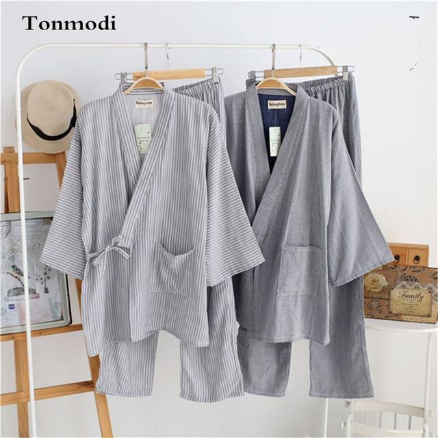 Kimono de la ropa de Los Hombres 100% algodón de gasa de tres del cuarto de la raya del estilo japonés kimono Pijama conjunto de Salón del Sueño de Los Hombres
