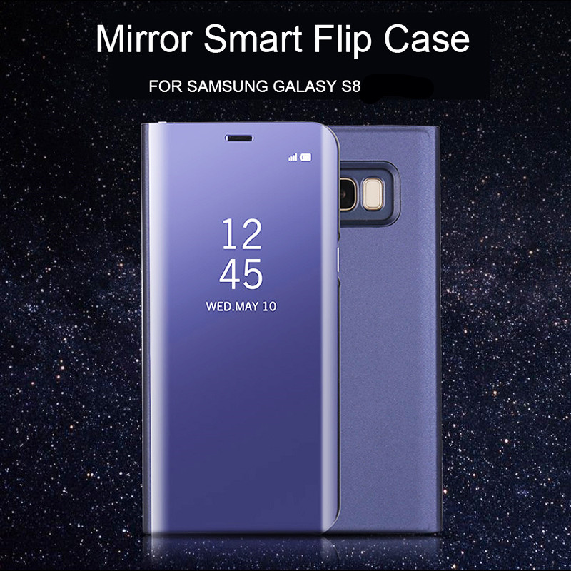 later size 7 cheap For Samsung S8 Clear View Flip Cases Electroplating Mirror ...