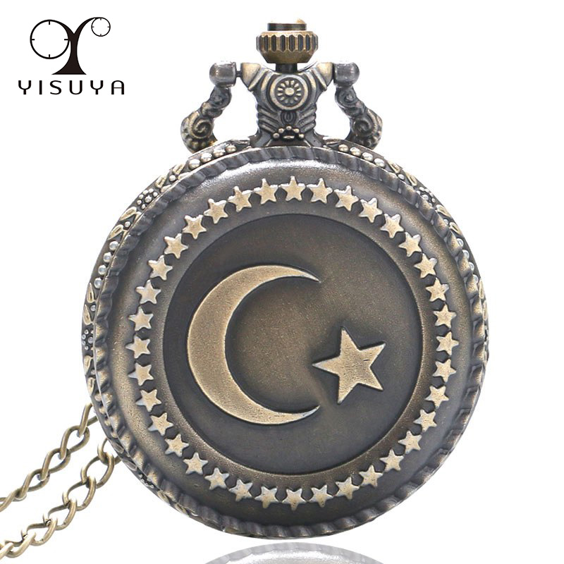 Vintage Pocket Watch Turkey Star and Moon Flag Full Hunter Quartz Movement with Necklace Chain for Women Men reloj de bolsillo new diy analog delay 1 pedal kits with 1590b diecast aluminium box free shipping