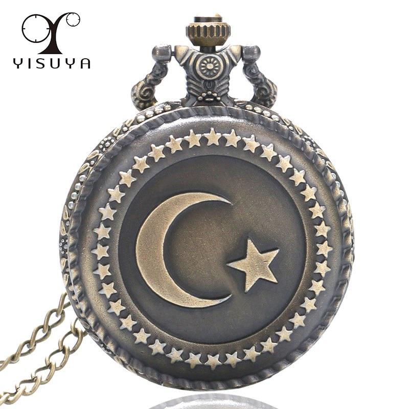 Vintage Pocket Watch Turkey Star And Moon Flag Full Hunter Quartz Movement With Necklace Chain For Women Men Reloj De Bolsillo