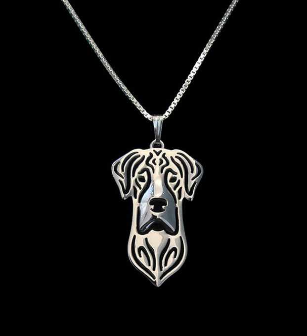 Emas & perak 1 pcs Bertelinga Besar Dane Alami Kalung 3D Cut Out Puppy Dog Cinta Liontin Kalung Liontin Christma Memorial hadiah