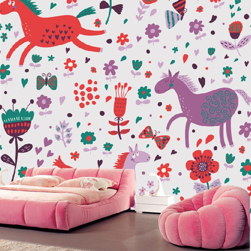 Custom animation wallpaper. Cartoon horse floral for children's room living room bedroom backdrop waterproof papel de parede custom baby wallpaper snow white and the seven dwarfs bedroom for the children s room mural backdrop stereoscopic 3d