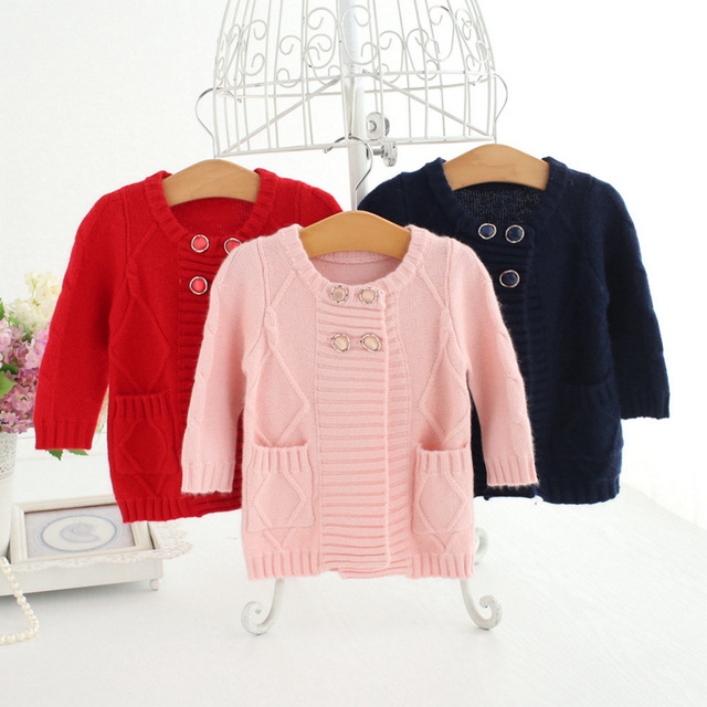 4202f9512 Baby Cardigan Girls 2017 O Neck Double Breasted Wool Coat Sweater ...
