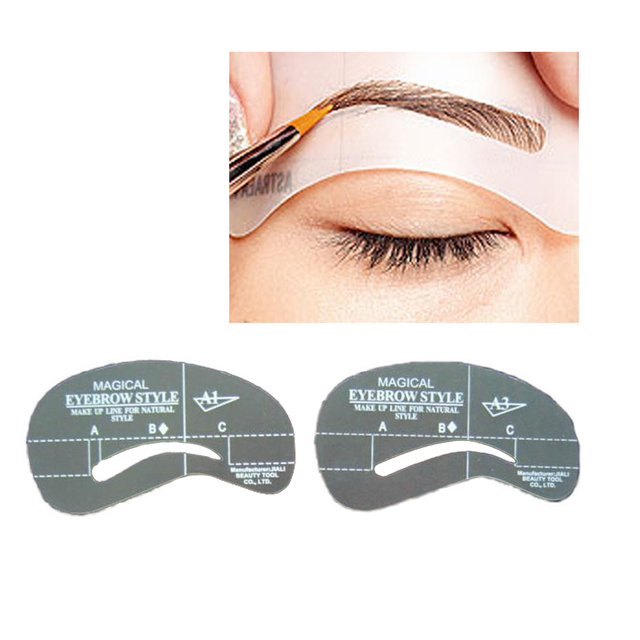 4pcs Kit Grooming Style Makeup Template Tools Eyebrow Stencil DIY Beauty Cosmetic Model Drawing Card Shaping A1-A4 5
