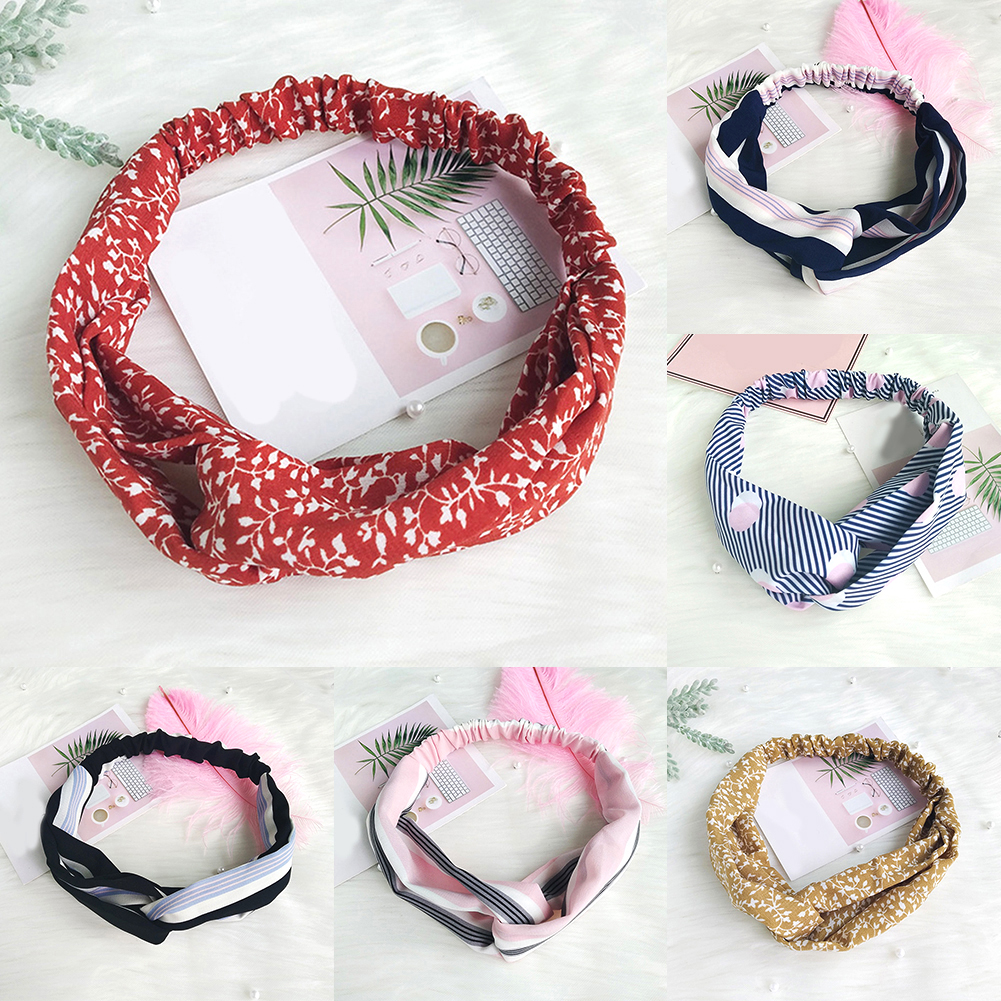 Korean Sweet Cross Knotted Headband For Women Floral Printed Striped Female Elastic Hair Bands   Headwear   Stretch Hair Accessories