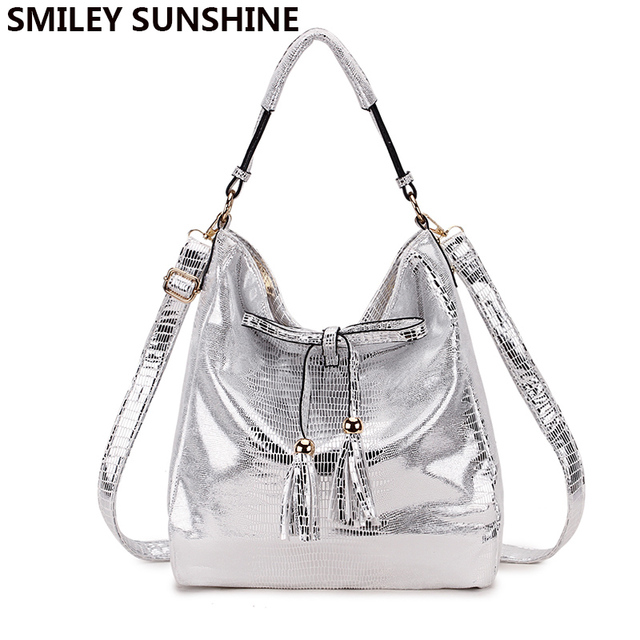 41b95821d66 US $24.48 50% OFF|SMILEY SUNSHINE band big messenger bag women's shoulder  bag ladies silver white leather handbags female tote bags for women-in ...