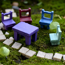 Miniatures Decors Mini Tables Chairs Furniture Figurine Crafts Landscape Plant Lovely Fairy Resin Garden Ornaments Garden supply cheap JETTING Folk Art