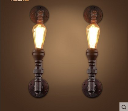Water Pipe Lamp Style Loft Industrial Vintage Wall Lamp Fixtures Edison Wall Sconce Arandelas Lamparas Apliques Pared iwhd rh style loft industrial vintage wall lamp led gold lampshade edison retro wall lights sconce arandelas apliques pared