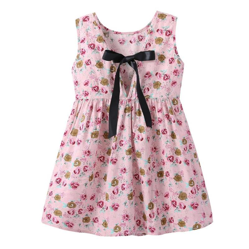 Summer Casual Baby Girls Clothing Rose Print Fashion Sleeveless Children Princess Dress O-neck Dress Girls Multi-color Desses ...