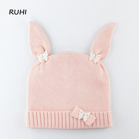 Ruhi Christmas Gift Boy Girl Hat Children Cotton Rabbit Cap Baby Girls Winter Fashion Kids Beanie Hats Boys Solid Print BMZ52