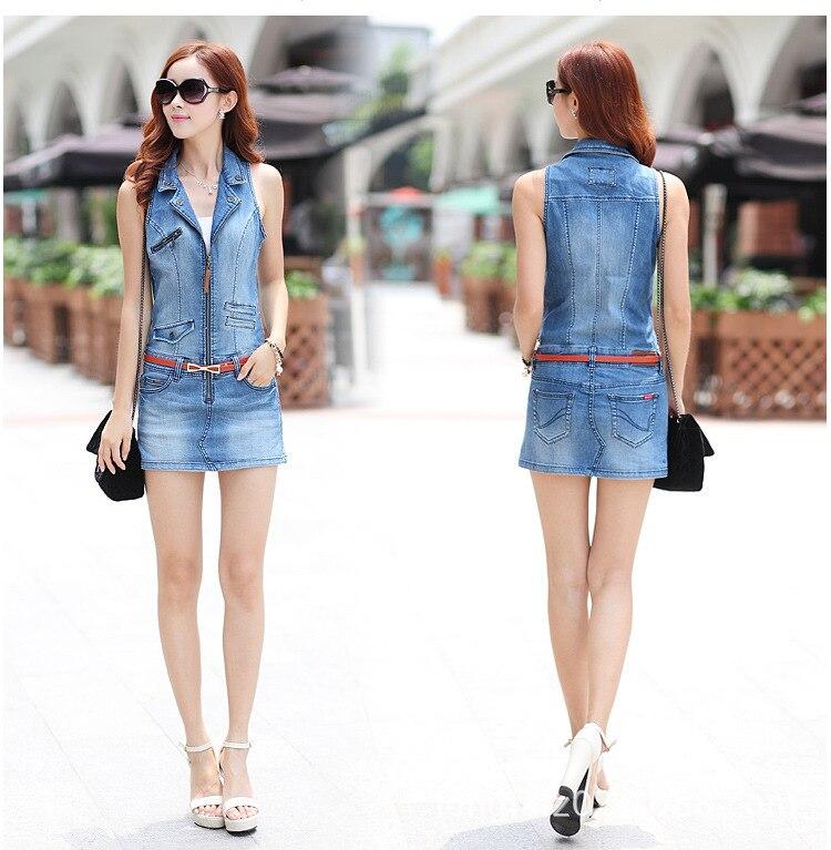 6853a8b6f8d905 2016 Zomer Mode Denim Jeans Jurk Voor Vrouw Casual Mouwloze Bodycon ...