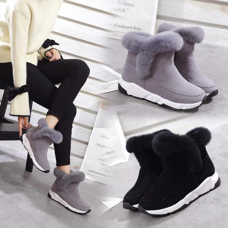 2018 new Winter Wedge Patchwork Faux Fur Fashion Women Shoes Woman Boots Platform Warm Snow Femme Ladies Boot Black GRAY