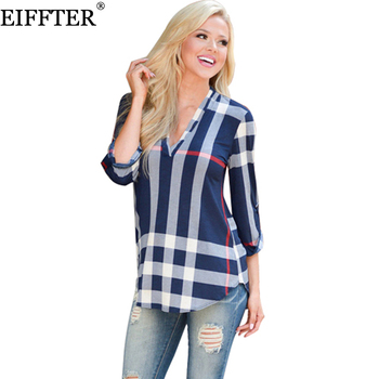 EIFFTER 2017 Spring Fashion Ladies Top V Neck Tops Tee Plaid Women Blouse Shirt Three-quarter Sleeve Casual Feminine Blouses