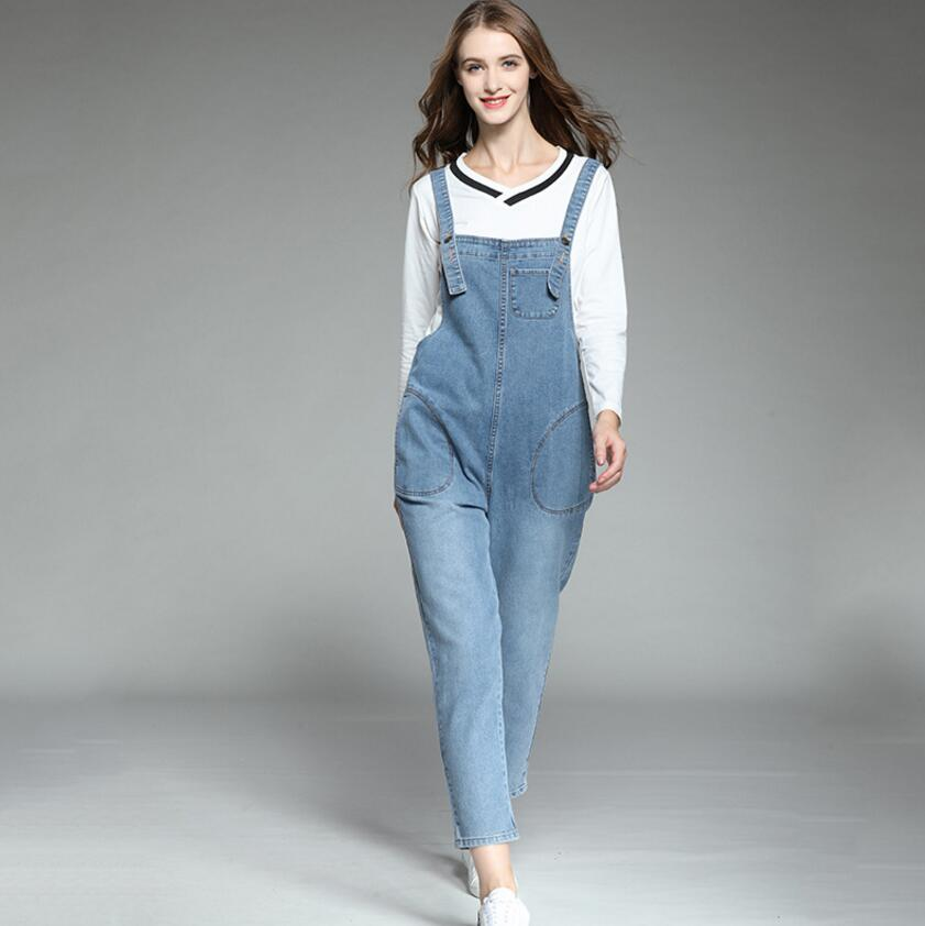 9cd2b5e5cb3 Aliexpress.com   Buy 2018 New Plus Size Denim Overalls Jumpsuits High  Quality Women Fashion Jumpsuits Casual Suspenders Loose Literary Overalls  from ...