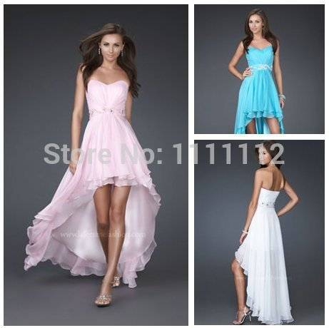 Pink Blue White Chiffon Short Front Long Back Prom Dresses 2012 ...