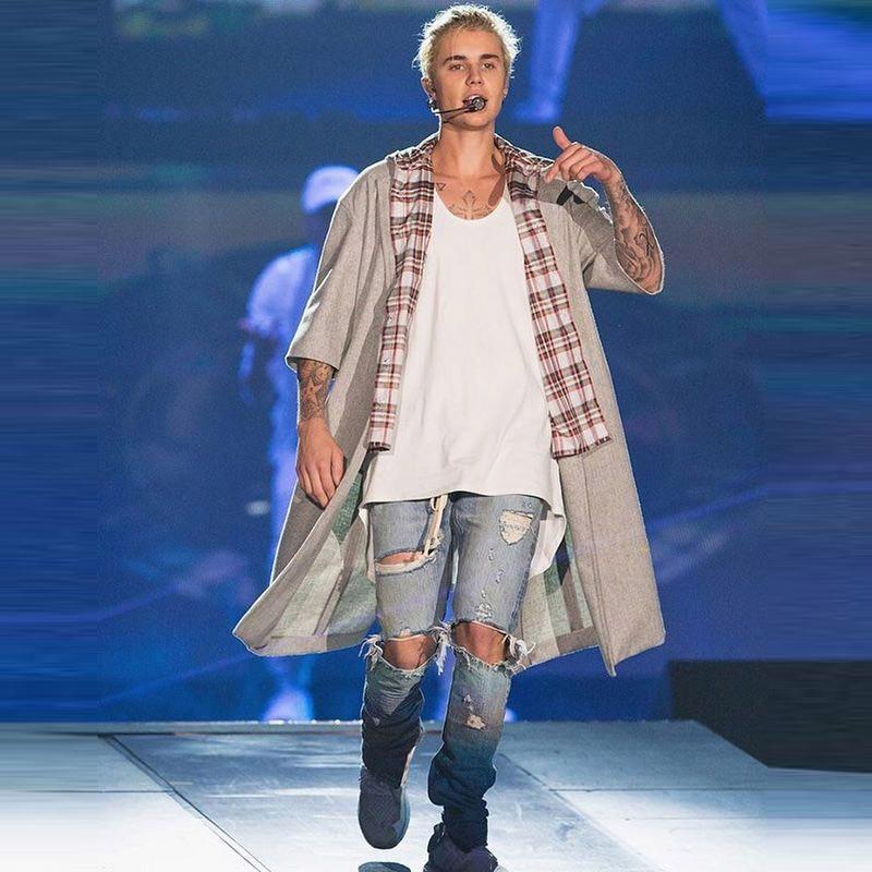 Absolutely High Quality Jumpsuit Designer RedLine Rock Star Justin Bieber Kanye West Zipper Ripped Hole Fear