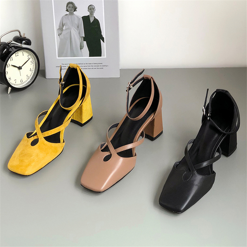 MSSTOR Cross-tied Summer Sandals 2019 Genuine Leather Elegant Casual Solid Buckle Strap Yellow Heels Square Toe Womens Sandals