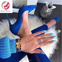 Original Intention New Sexy Women Pumps Faux Suede Pointed Toe Thin High Heel Pumps Royal Blue Shoes Woman Plus US Size 4 15