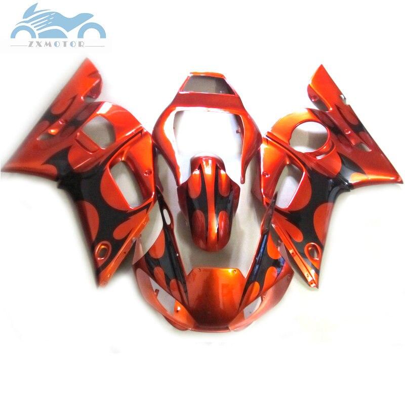 Kit de carénages de moto sur mesure pour YAMAHA R6 YZFR6 1998-2002 YZF R6 98 99 00 01 02 kits de carénage en plastique ABS rouge doré EB52