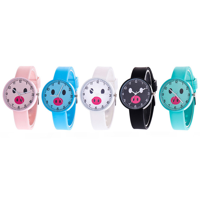 Cartoon children's watches lovely small Pig Quartz Watches with Silicone Band Wr