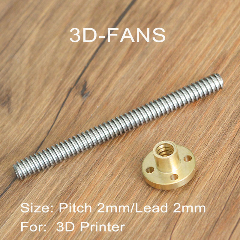 Lead 2mm THSL-300-8D 200/250/300/350/400/500mm T-type Stepper Motor Trapezoidal Lead Screw 8MM with Copper Nut for 3D Printer free shipping 10pcs 3d printer m8 trapezoidal screw for supporting all the copper nut stepper motor guide screw for lead screw