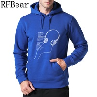 RFBear Brand Men Long Sleeve Cotton Sweatshirts Men S Casual Hoodies With Hat Printin Music Autumn