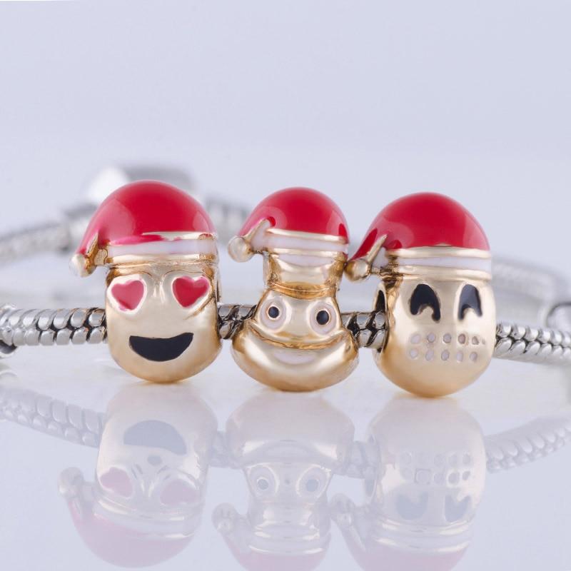 Top Grade Christmas Emoji Bead Charm Bracelet Heart Bead Gold Color Men jewelry fit Pan Bracelet for Women DIY Jewelry Gift