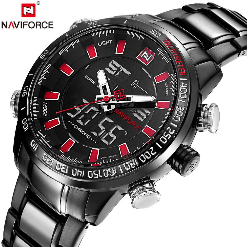 NAVIFORCE Brand Luxury Men s Waterproof Full Steel Stop Watch Quartz Analog Sports Watches Male Clock