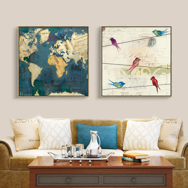 Full house modern style creative world map art print posters peace full house modern style creative world map art print posters peace on earth canvas painting wall sciox Images