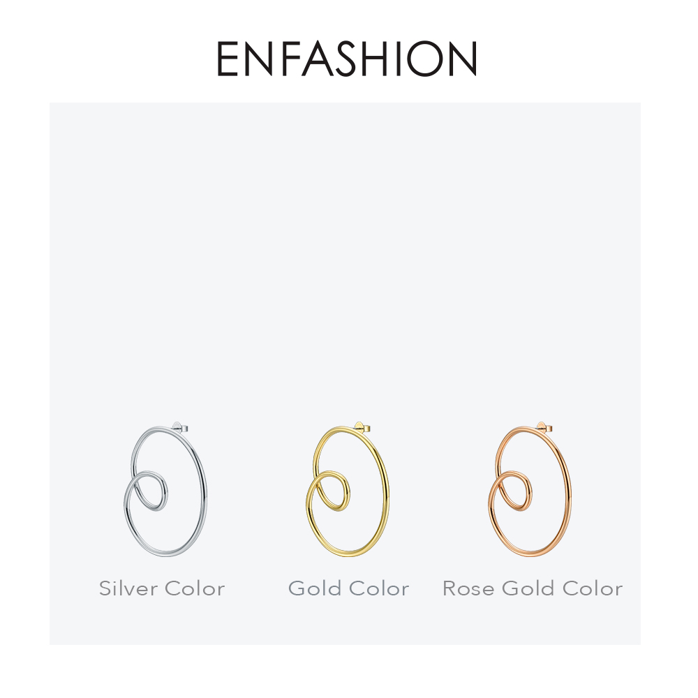 Image 5 - ENFASHION Wave Curve Drop Earrings For Women Gold Color Big Statement Accessories Loop Earings Fashion Jewelry Oorbellen EC1027Drop Earrings   -