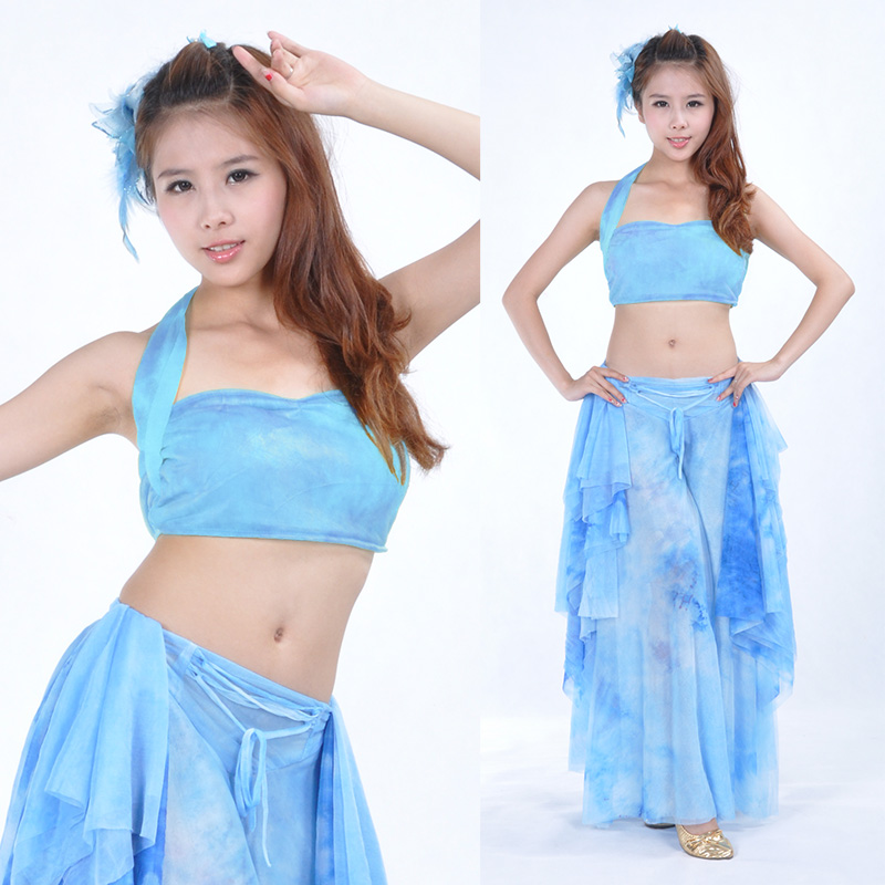 2016  The New Tie Dyed Skirt Suit Ear Belly Dance Costumes Belly Dance Practice Suit Dream Kit  2 Sets