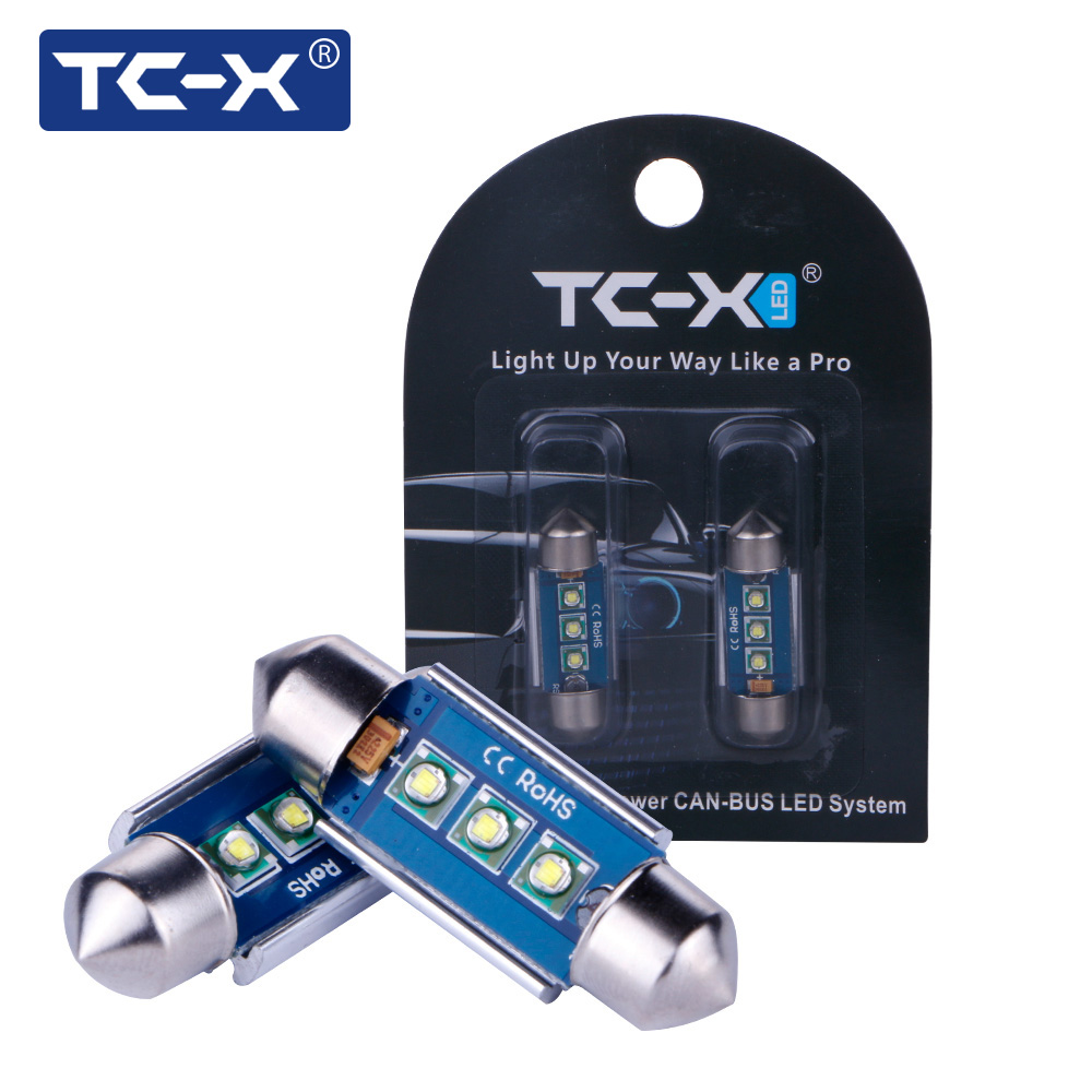 TC-X 2pcs Led Car Interior Light Bulbs Auto 31/36/39/42MM Dome Festoon Canbus Bright White 12V Car-styling License Plate Lights
