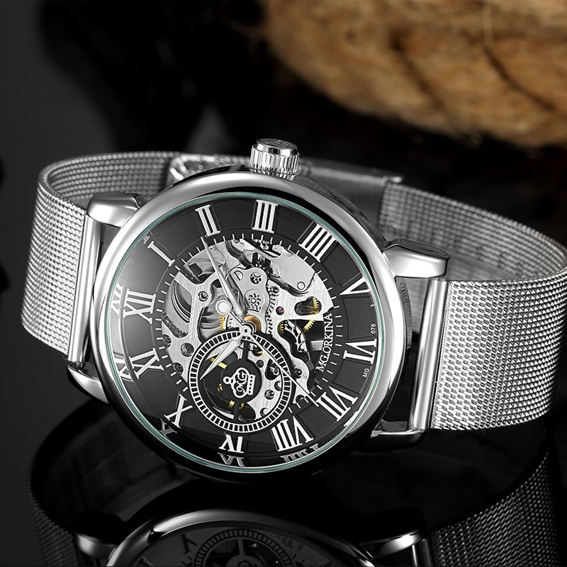 Men Watches Bracelet Skeleton-Watch Mechanical Hand-Wind-Mg.orkina Hot-Sale Mesh-Strap