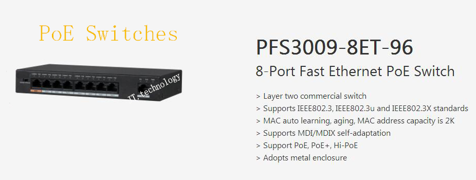 Free Shipping DAHUA Security CCTV Transmission 8-Port Fast Ethernet PoE Switch Without Logo PFS3009-8ET-96 cctv 4 port 10 100m poe net switch hub power over ethernet poe